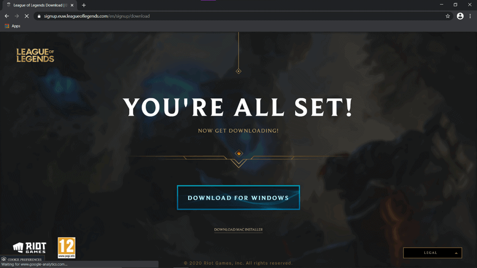 Click on download to download League of Legends