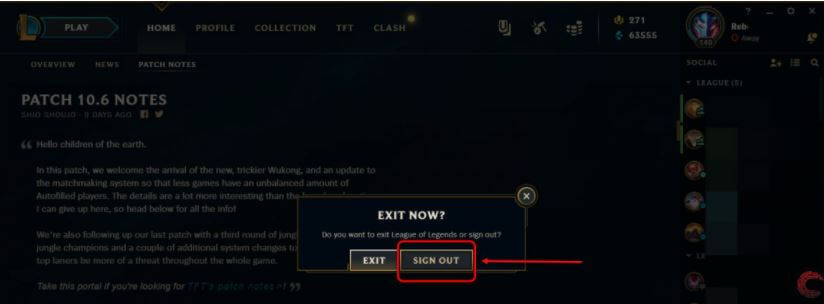 Logout Of The League Of Legends (LoL) Game