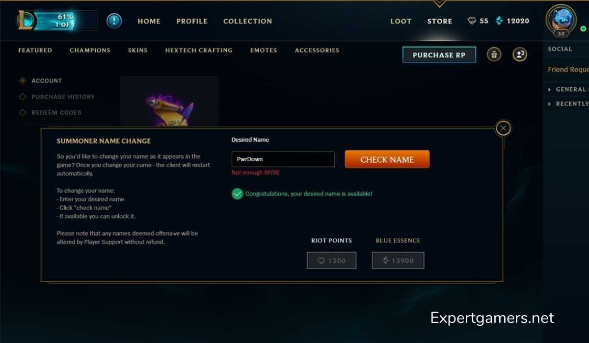 how to change league of legends name