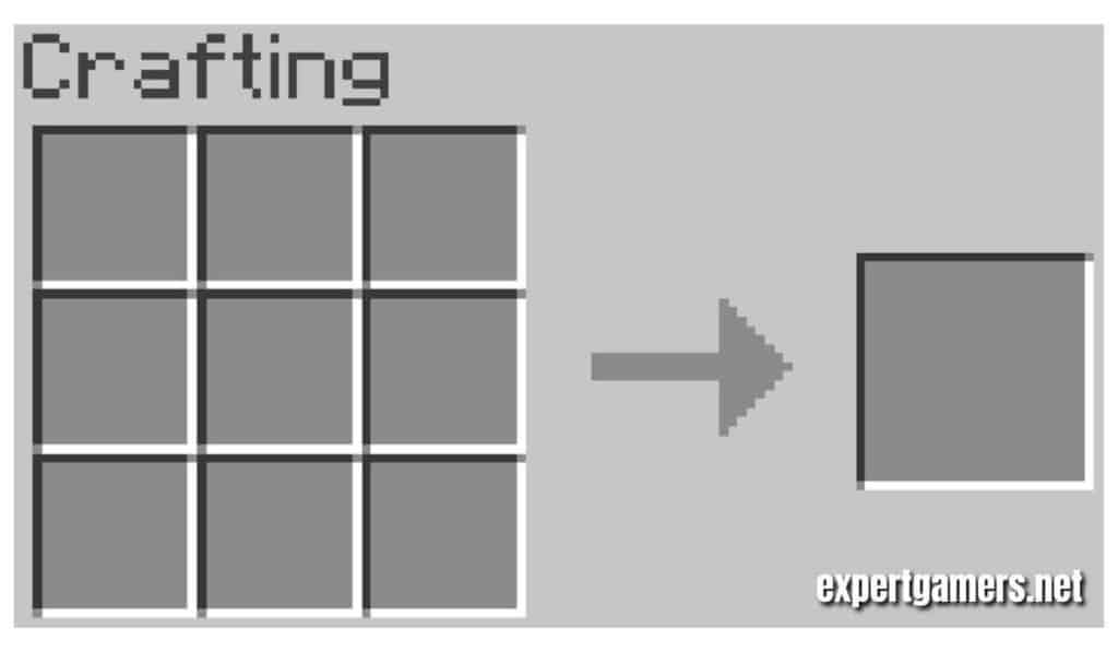 Adding the raw materials to the crafting table